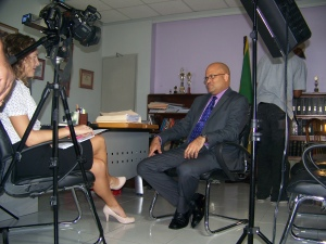 Me interviewing former Department of Correctional Services Commissioner Sean  Pendergrast