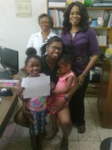 Mrs. Denton, Mrs. Scott and Khalia with her children Kimmy and Kelly