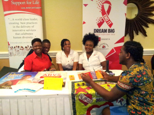 The happy Jamaica AIDS Support for Life team was there. (My photo)